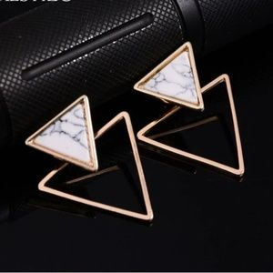 Jewelry - UO Geometric Marble Triangular Earrings